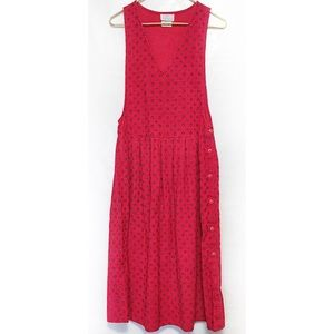 Vintage Red Pleated Corduroy Dress Long 5/6 S/M